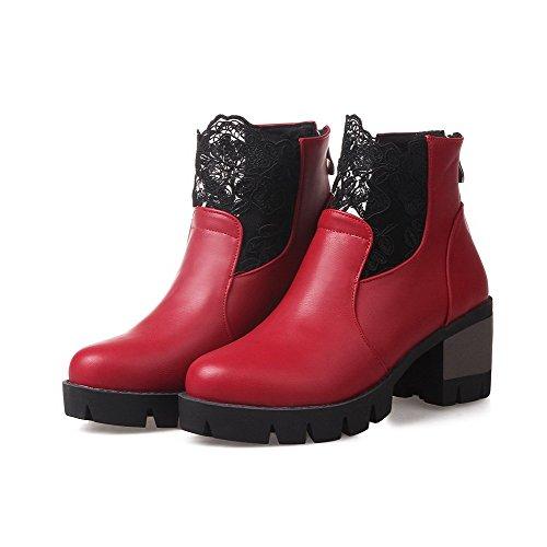 AgooLar Damen Reißverschluss PU Rund Zehe Mittler Absatz Gemischte Farbe Stiefel, Rot, 41