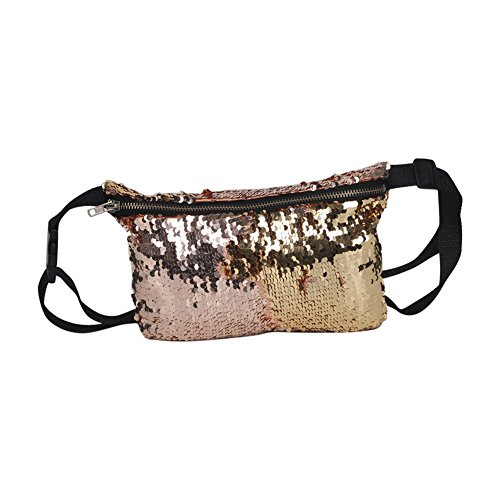 Wildeal Women Sequin Glitter Shiny Waist Pack Belt Shoulder Bag Multifunction Pouch Purse champagne&Gold