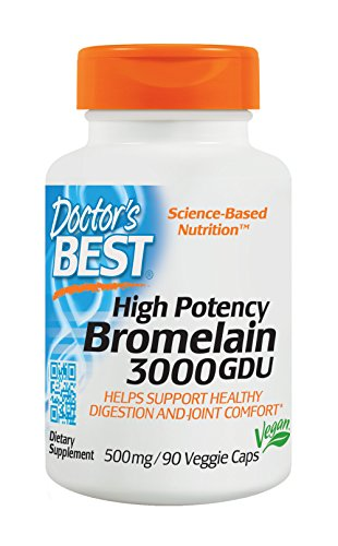 Doctor's Best 3000 GDU Bromelain, Non-GMO, Gluten Free, Joint Support, 90 Veggie Caps (Support 90 Caps)