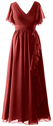 MACloth Women Short Sleeves Mother of the Bride Dress V Neck Formal Evening Gown Burgundy