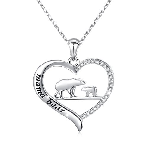 Sterling Silver Mama Bear Heart Shaped Necklace
