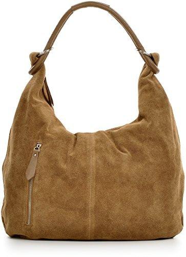 CNTMP, Mesdames sacs à main, sacs hobo, sacs à bandoulière, sac, sacs, sacs à la mode, velours, suède, daim, sac en cuir, A4, 44x36x4cm (L x H x P) Taupe