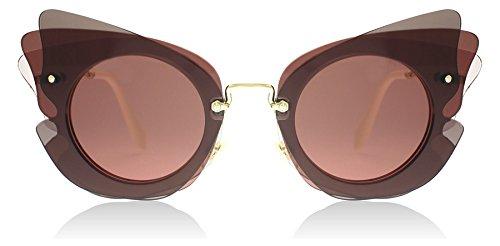 Miu Miu MU02SS VA50A0 Dark Brown / Pink MU02SS Cats Eyes Sunglasses Lens - Cat Eye Sunglasses Miu Miu Pink