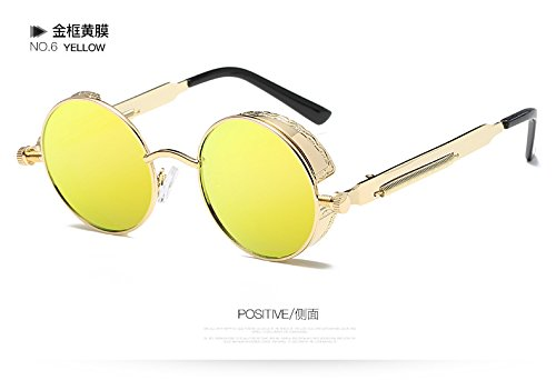De 58028C6 Gafas Sol De 58028C6 Gafas De Oro Círculo El Espejo Gótico Steampunk Hombre Gafas Rotonda Del TIANLIANG04 Mujer Desde Vintage Metal De De Sol cUqFASC