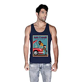 Creo Auto Repair Beach Tank Top For Men - S, Navy Blue
