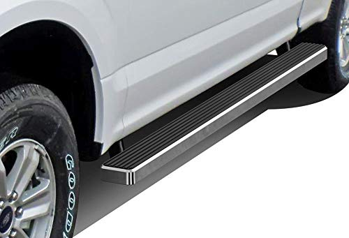 APS iBoard Running Boards 4 inches Custom Fit 2015-2019 Ford F150 Super Cab Pickup 4-Door & 2017-2019 Ford F-250 F-350 Super Duty (Nerf Bars Side Steps Side Bars)