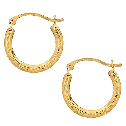 Hoop Gold 15mm Earrings - 10k Yellow Gold Shiny Diamond Cut Round Hoop Earrings, Diameter 15mm