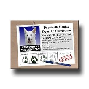 White Shepherd Dog Rap Sheet Fridge Magnet