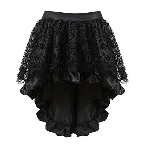 Women's Peacock Lace Up Black Corset Overbust Waist Cincher Bustier Burlesque Lingerie Sets (L(US Size 6-8) Waist:28-29, Black -