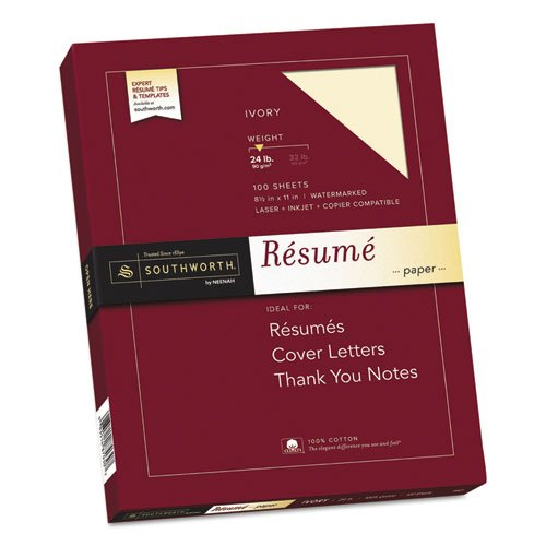 100% Cotton Resume Paper, Ivory, 24 lbs., 8-1/2 x 11, Wove, 100/Box ()