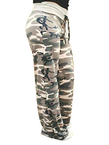 (iChunhua Women's High Waist Casual Camo Floral Print Drawstring Wide Leg Pants 2XL Light Camo)