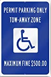 Georgia Permit Parking Only Handicap Sign 12'' wide x 18'' tall Heavy Gauge Aluminum