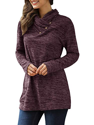 Womens Plus Size Tunic Sweatshirts Cowl Neck Tops Button Turtle Neck Top - Neck Pullover Button