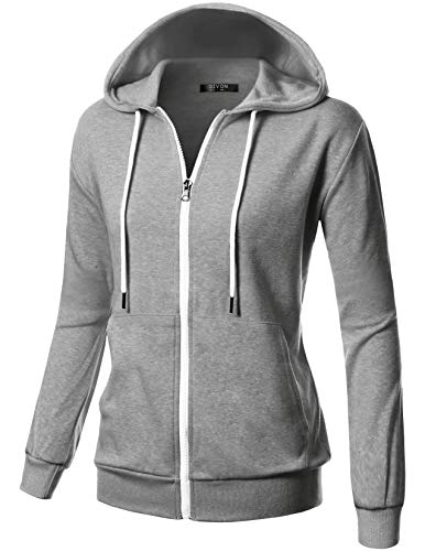 GIVON Womens Comfortable Long Sleeve Lightweight Zip-up Kanga Pocket Hoodie with Inside Pocket for Cell Phone/DCF200-GREY-M