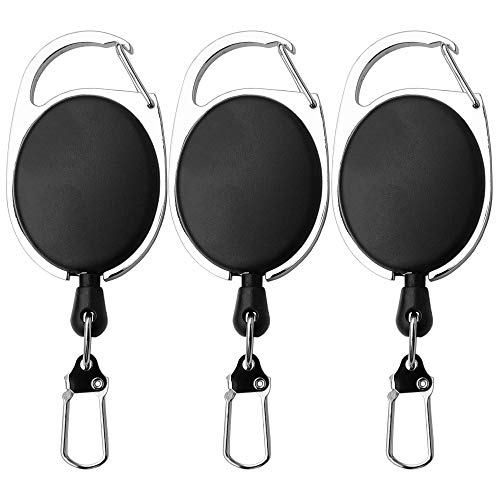 SAMSFX Fly Fishing Zinger Retractor for Gear Tools Holder (Black Fishing Zinger 3pcs)