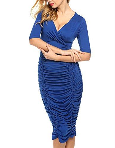 Prom Dress L Women Bodycon Neck zhxinashu Empire 3XL Waist Blue V Oversize wBTCYTq
