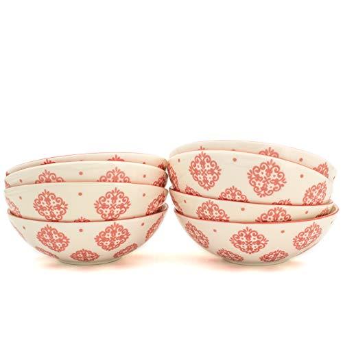 Euro Ceramica ALF-1232R Alfama Dining/Pasta Bowls, Set of 8, Red by Euro Ceramica Inc.