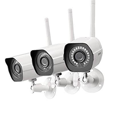 Zmodo Wireless Security Camera System 3 Pack, Smart Home HD Indoor Outdoor WiFi IP Cameras with Night Vision, Cloud Service Available