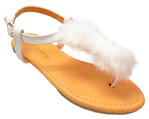 Girls Slip On Open Toe Sandals - Toddler, Little Kid Big Kid (2 Little Kids, White Faux Fur)