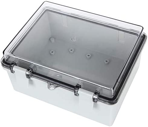 """41NIHCNV%2BaL. AC Junction Box ABS Plastic Dustproof Waterproof Electrical Enclosure Box Hinged Shell Outdoor Universal Project Enclosure Grey with PC Clear Transparent Cover 8.7 x 4.7 x 2.2 inch (220x170x110mm)    Specifications : Outer Size (approx.): 8"""" x 4.7"""" x 2.2"""" (200mmx120mmx56mm)(L*W*H)  Inner size (approx.):7.6"""" x 4.5"""" x 2.0"""" (194mmx114mmx49mm) (L*W*H)  Thickness: 0.16''/4mm Screw Thread Dia.: 4mm/0.16""""【Durable Material】Junction boxes, perfect for use outdoors, made of ABS, durable for use, and easy to install.【Product Size】Outer Size of electrical enclosure (approx.): 8"""" x 4.7"""" x 2.2"""" (200x120x56mm);Inner size of electrical enclosure (approx.): 7.6"""" x 4.5"""" x 2.0"""" (194x114x49mm)(L*W*H) ; Thickness: 0.16''/4mm; Screw Thread Dia.: 4mm/0.16"""".【Easy to operate】: Junction box is easy to install, Hinged enclosure makes the opening and closing easier; Come with transparent cover, the inner project of junction box can be more visible.【Specifications】Waterproof Ingress Protection Rating is IP65, moisture-proof, sunscreen, anti-corrosion, durable for years use.【Application】Suitable for indoor and outdoor electrical, communications, fire equipment, steel smelting, oil chemical industry, electronics, electric power, railway, construction site, mining, quarry, airport, hotel, ships, large factories, terminal equipment, sewage discharge wastewater, environmental hazards, etc."""
