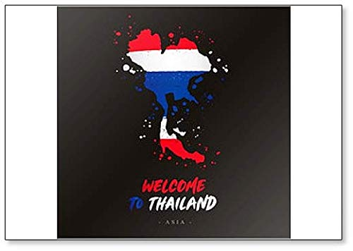 Bienvenido a Tailandia. Imán para nevera, diseño de bandera y mapa ...