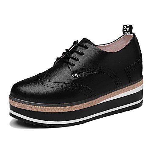 Zapatillas De Cuña De Plataforma Para Mujer Punta Redonda Antideslizante Planas De Suela De Goma Grueso Suela Zapatos Casuales Negro