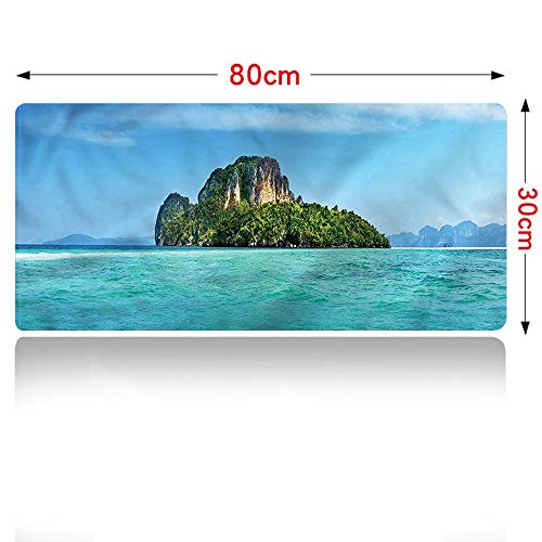 Island Large Mouse Pad Coastline in South East Asia Large Desk Pad (31×12in)