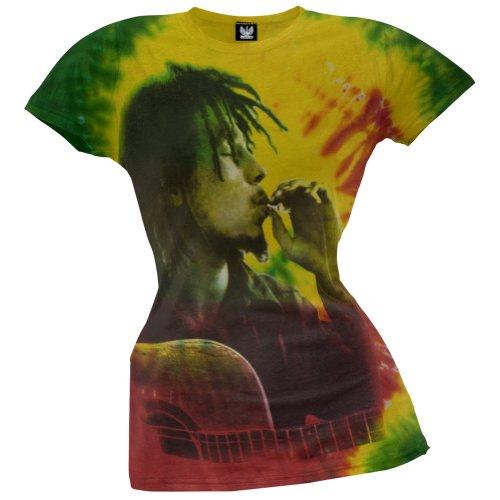 Bob Marley - Side Profile Smoke Tie-Dye Juniors T-Shirt - X-Large