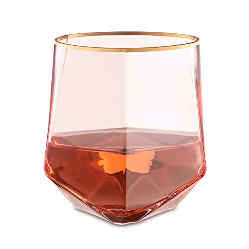 Rose All Day – Stemless Geometric Gold-Rimmed Rose Wine Glasses – Set of 4