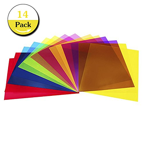 Transparency Overlay (14 Pack Light Gels Colored Overlays Transparency Color Film Plastic Sheets Correction Gel Light Filter Sheet, 8.5 by 11 Inch,7 Assorted Colors)