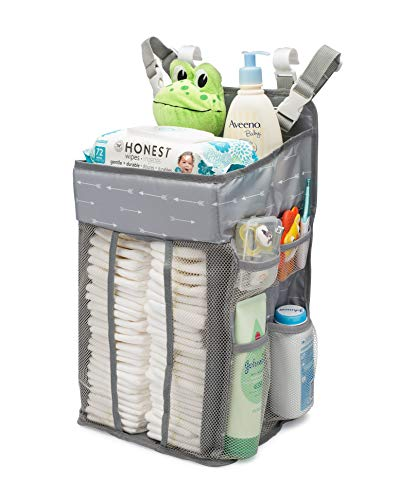 Hanging Nursery Organizer and Baby Diaper Caddy | Hanging Diaper Organization Storage for Baby Essentials | Hang on Crib, Changing Table or Wall