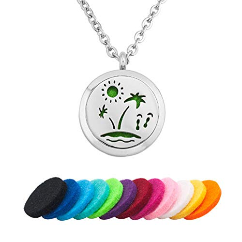 EV.YI Jewels Summer Beach Aromatherapy Jewelry for Women Men Diffuser Necklace for Essential Oil Perfume Locket Pendant with Refill -