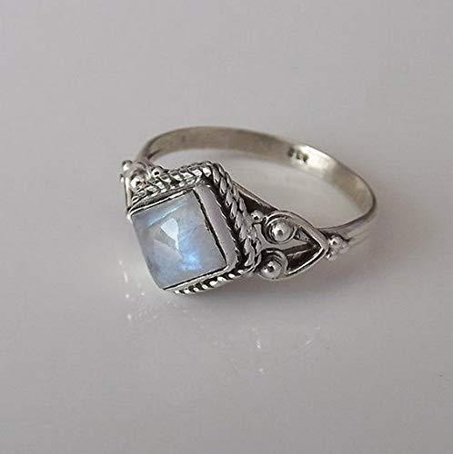 - Monowi Retro 925 Silver Rainbow Moonstone Boheiman Beach Wedding Ring Xmas Gift Vintage   Model RNG - 20143   6
