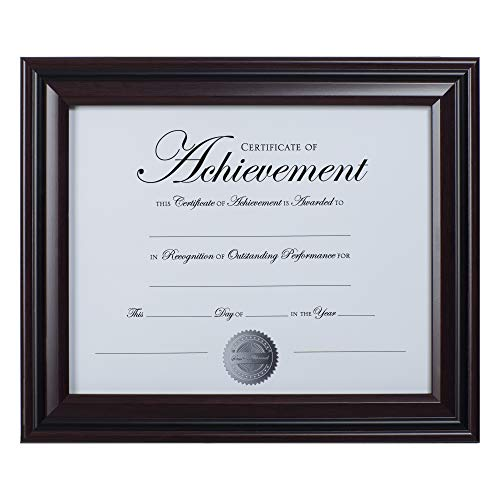 (Dax 8.5x11 Classic Rosewood and Black Document Frame, Wall or Table Top Display)
