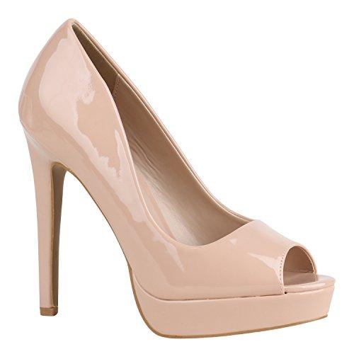 Stiletto High Spitze Flandell Heels Pumps Strass Damen Lack Nude Peeptoes Schuhe qwRXt1