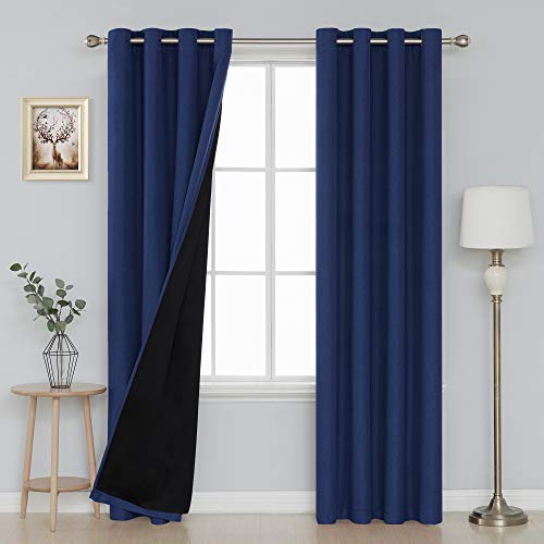 Deconovo Thermal Blackout Curtains for Bedroom Durable Heavy Duty Faux Linen Blackout Curtains 52x95 Inch Navy Blue 2 Panels]()