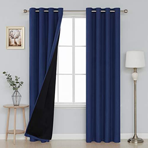 Deconovo Thermal Blackout Curtains for Bedroom Durable Heavy Duty Faux Linen Blackout Curtains 52x95 Inch Navy Blue 2 Panels (Linen Blackout 95)