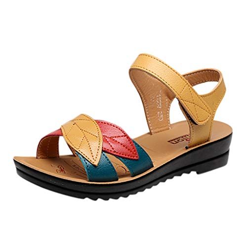 Women Leather Knot Sandals,Ladies Summer Sandals Wedges Comfort Soft Bottom Maternity Shoes Hook Loop Strappy Sandals (C_Yellow, US:7) ()