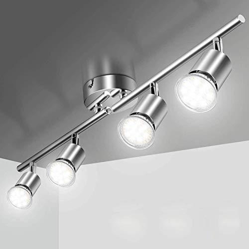 LED-plafondlamp 4-punts Verstelbare, Elfeland LED Plafondlamp 4xGU10 Plafondspots Draaibaar LED-spot Plafondverlichting…