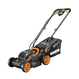"Worx WG779 2x20V (4.0AH) Cordless 14"" Lawn Mower with Mulching Capabilities and Intellicut, Dual Charger, 2 Batteries 48 Dual 20V power share batteries deliver 40V of maximum power and performance Patented intellicut technology delivers power on demand - save your battery for when you really need it Foam padded handles provides a comfortable grip for reduced fatigue while cutting"