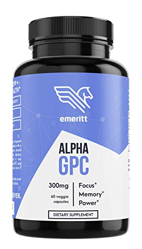 Alpha GPC Premium Choline - Pure Pharmaceutical Grade 600 mg Servings - Support Brain Focus and Memory - 300mg Capsules x60 - Vegan No Soy Gluten-Free Non-GMO AGPC Supplement Made in USA - Emeritt