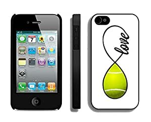 Apple Iphone 4s Case Durable Soft Silicone TPU Personalized Tennis Love Infinity Love Sports Black Mobile Phone Case Cover for Iphone 4