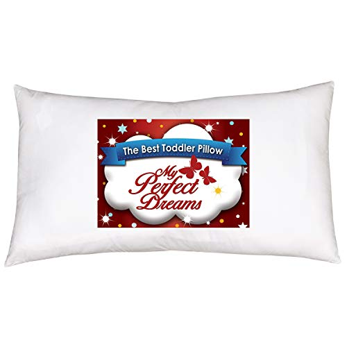 My Perfect Dreams Toddler Pillow Includes Pillow CASE Your Child Will Never Sleep Better Premium Quality Fiber Filling Plus Super Soft 100% Cotton Pillow Case