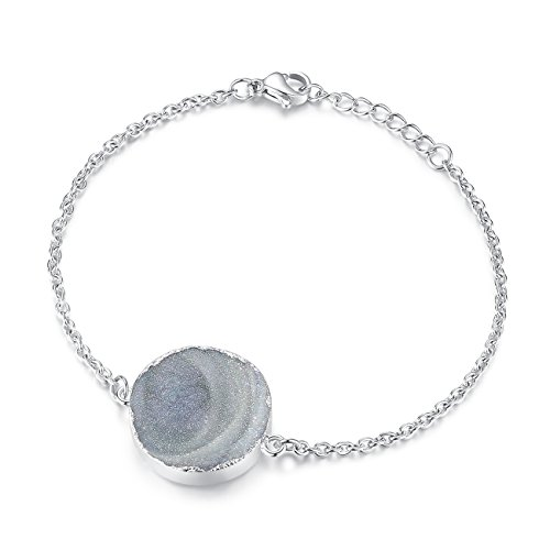 TOUGHARD Minimalist Handmade Natural Agate Druzy Charm Bracelet, Delicate Jewelry for Girls Women (Round-Silver)