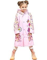 Kids Raincoat Poncho Waterproof Rain Jacket - Girls Boys Hooded Rainwear Rain Cape Reusable Rain Suits Slicker with Backpack space for School Traveling Outdoors Sports Camping