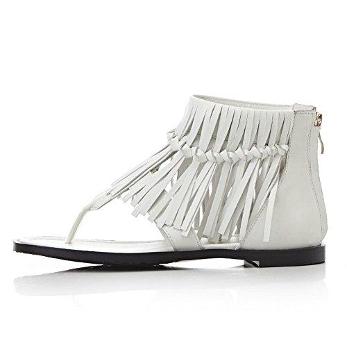 Toe Leather White Womens Zipper Low heels Solid Split AmoonyFashion Cow Sandals H6awRXPx