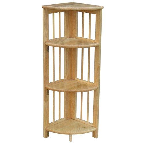 Casual Home Folding 38'' Corner Bookcase 4 Shelves 100% Solid Wood Book Shelves (1, Natural)