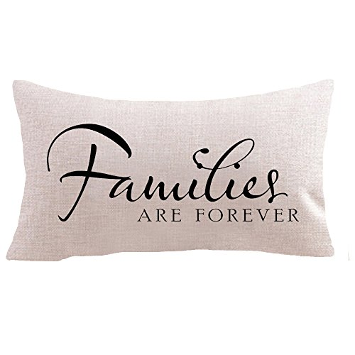Warm words Families are forever gifts Cotton Linen Square Throw Waist Pillow Case Decorative Cushion Cover Pillowcase Sofa 12x 20