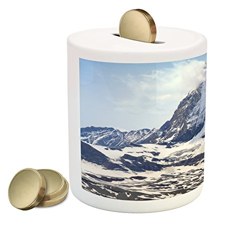 (Ambesonne Mountain Piggy Bank, Matterhorn Summit with Clouds Mountain Scenery Glacier Natural Beauty Image, Printed Ceramic Coin Bank Money Box for Cash Saving, Blue White Black)