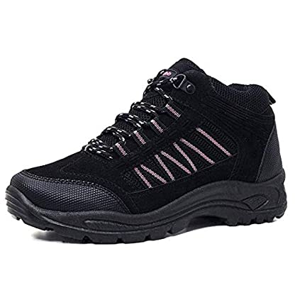 Womens Girls Hiking Walking Trail TREKING Rambling Boots Shoes Size 3-8 (8 UK, Black/Pink) 1
